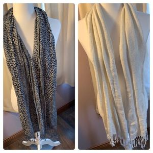 2 Scarves black/silver and cream with gold